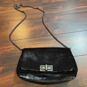 Black sequin chain purse